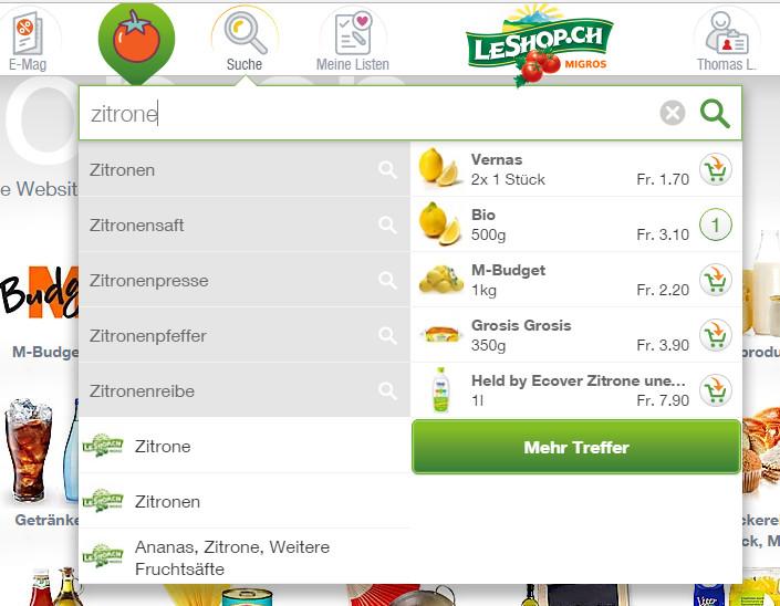 LeShop Suche mit Einkaufsmöglichkeit