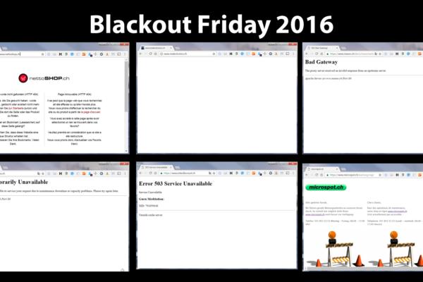 Blackout Friday 2016 - Zahlreiche prominente Schweizer Onlineshops waren dem Ansturm nicht gewachsen