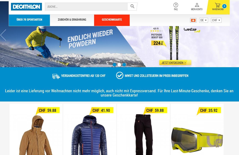 fa48e5588 Sportartikel Online  Decathlon in der Schweiz gestartet