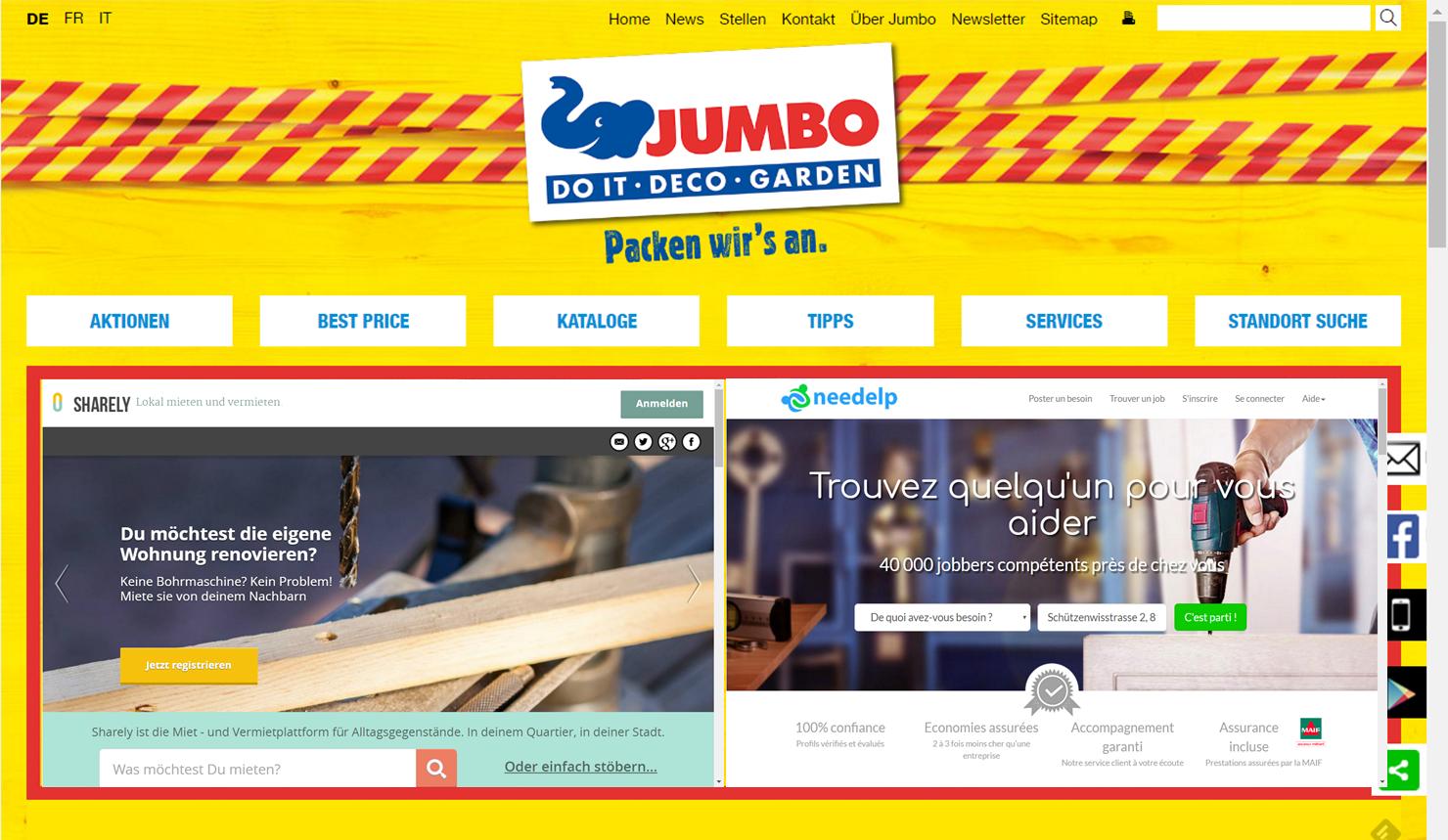 Sharely und Needelp - Jumbo hat sich an zwei Shareconomy Plattformen beteiligt