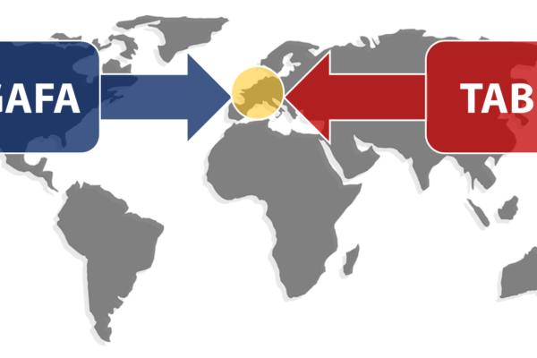 Druck der Plattformen aus Westen (GAFA) und Osten (TAB) – Grafik: Carpathia
