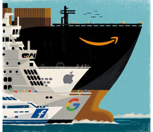 """Amazon Takes Over the World"" - Illustration: WSJ"
