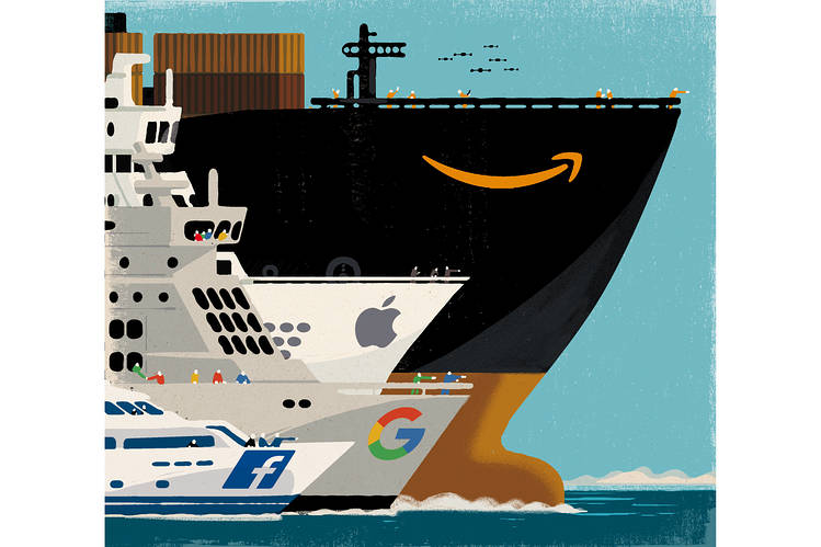 """Amazon Takes Over the World"" - Illustration: WSJ"