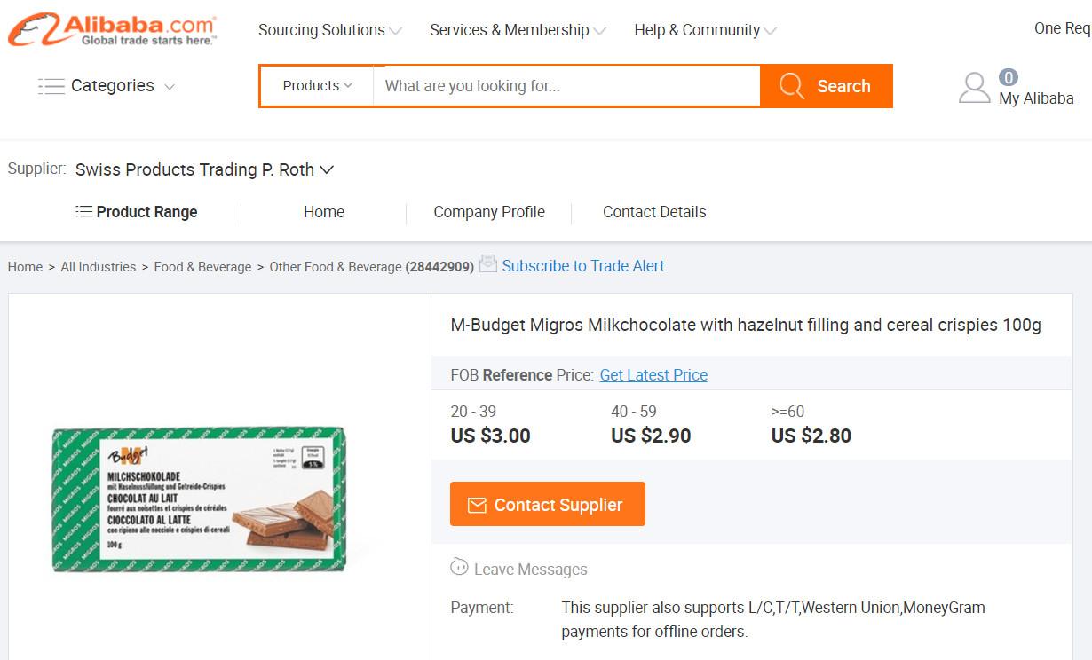 Migros M-Budget Schokolade bei Alibaba
