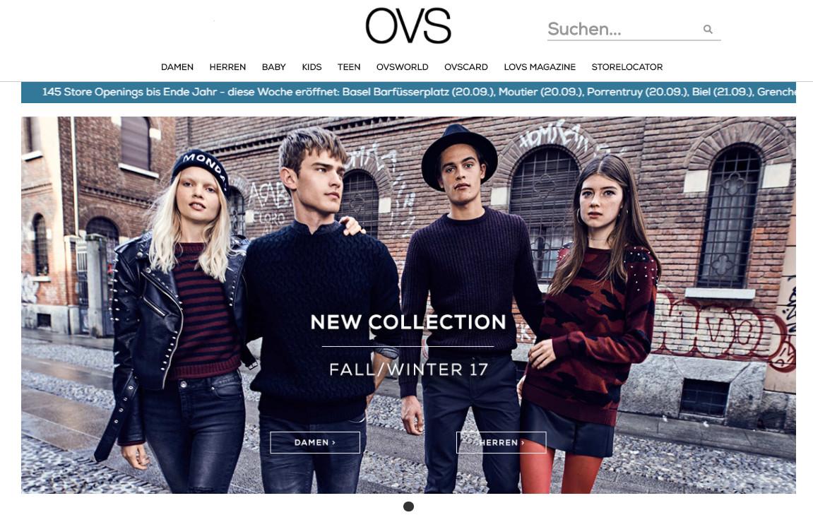 Startsite von der Schweizer Version von ovsfashion.com