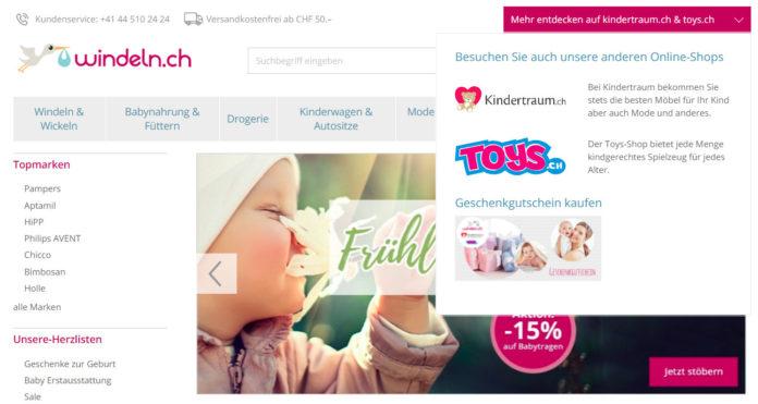 Bisheriges Multishop-Konzept von windeln.ch mit kindertraum.ch und toys.ch