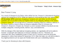 """Information von Amazon an Kunden mit Schweizer Adresse """"Changes to international shopping on Amazon from 26 December 2018"""""""