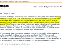 "Information von Amazon an Kunden mit Schweizer Adresse ""Changes to international shopping on Amazon from 26 December 2018"""