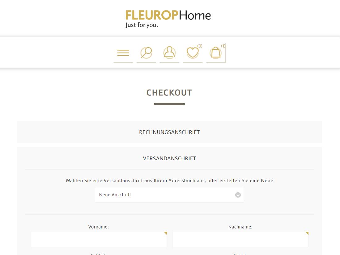 Schenken ganz einfach: Checkout bei Fleurop-Home mit unterschiedlichen Rechnungs- und Lieferadressen.