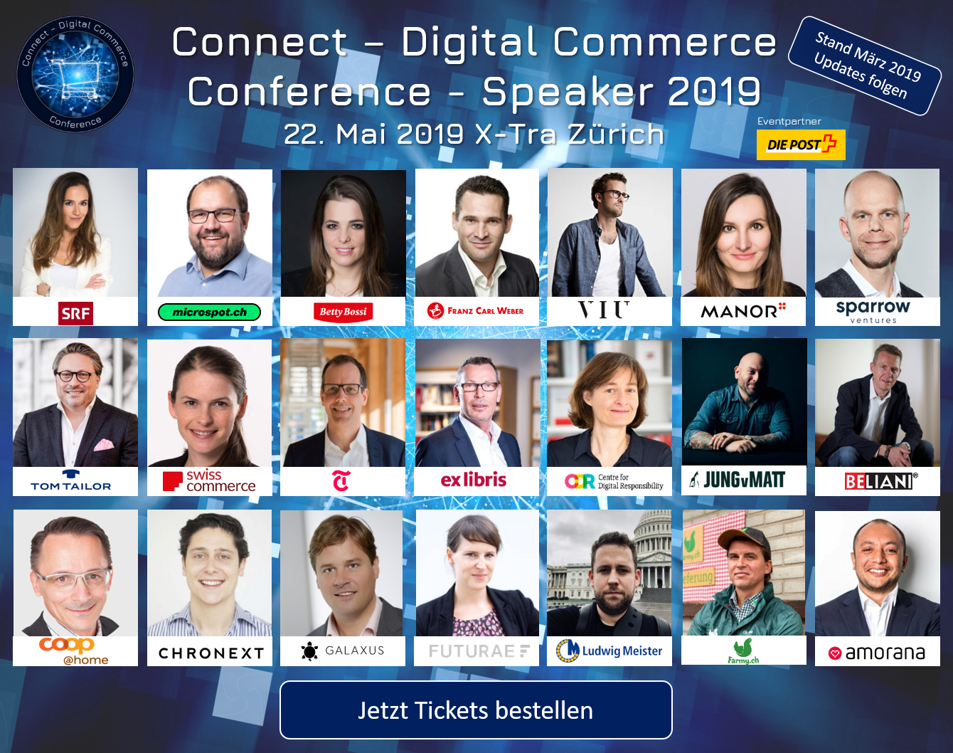 Speaker der Connect – Digital Commerce Conference 2019 – 22. Mai 2019 X-Tra Zürich – Stand: März 2019