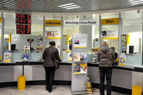 Abholschalter für China-Päckli im Paketimport-Zentrum in Zürich-Mülligen