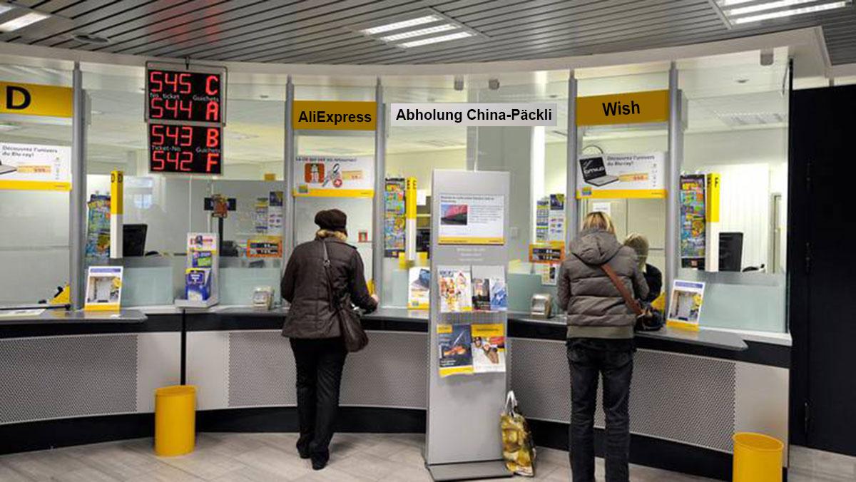 Abholschalter für China-Päckli im Paketimport-Zentrum in Schlieren bei Zürich.