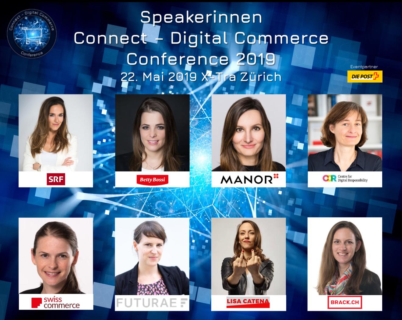Diese Speakerinnen sind auf der Bühne an der Connect - Digital Commerce Conference 2019