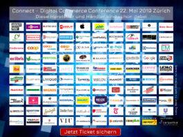 Teilnehmende Händler und Hersteller der Connect - Digital Commerce Conference 2019 (Stand Ende April 2019)