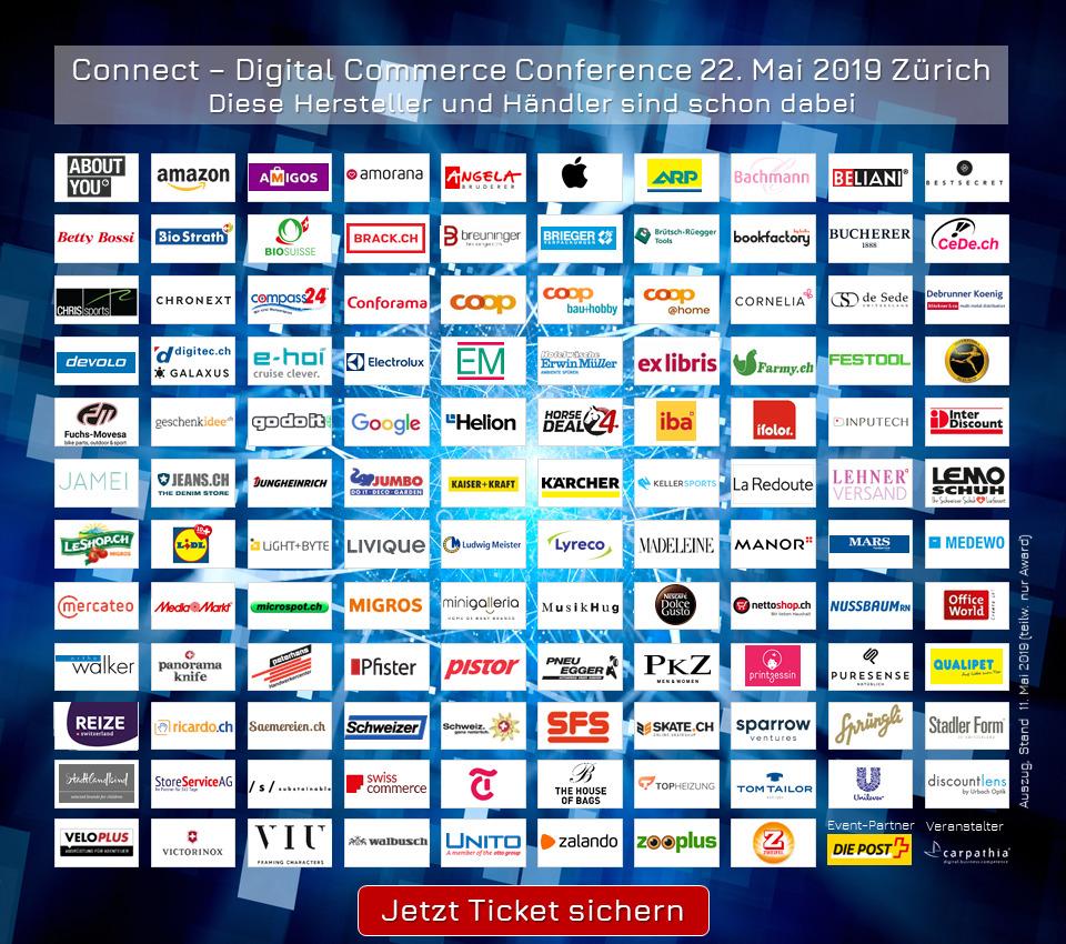 Diese Hersteller und Händler sind alle dabei, am 22. Mai 2019 an der Connect - Digital Commerce Conference (Auszug vom 12. Mai 2019)