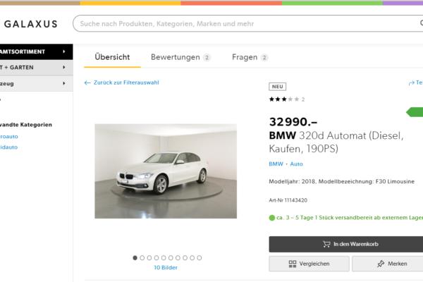 Autos Online verkaufen – Galaxus gibt Gas