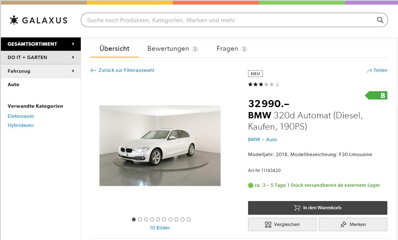 Autos Online verkaufen - Galaxus gibt Gas