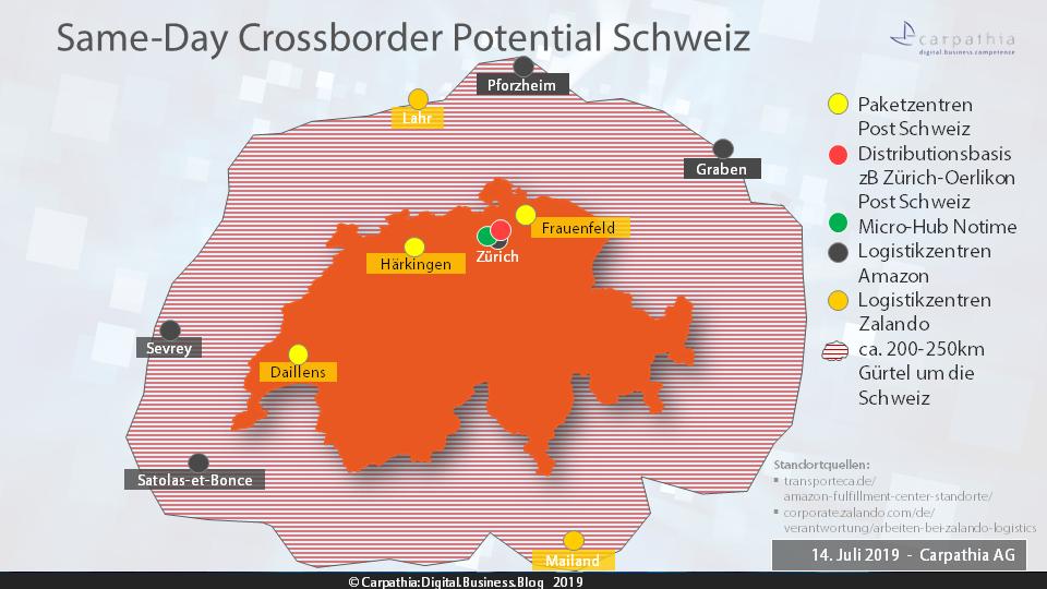 Same-Day Crossborder Potential Schweiz; alleine Amazon und Zalando haben 6 Logistikzentrum im Bereich von 200-250km um die Schweiz postiert. Grafik: Carpathia AG