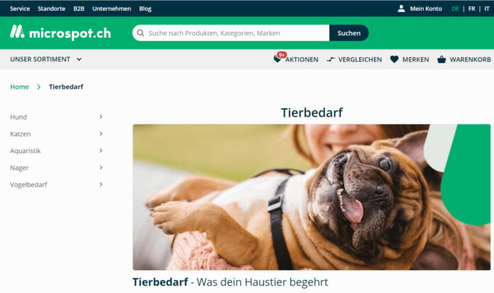 Startseite Kategorie Tierbedarf bei micospot.ch
