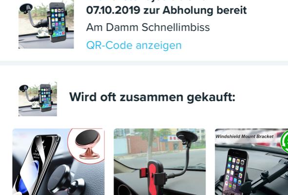 Wish-App: Bestellbestätigung mit Abholungs-Option