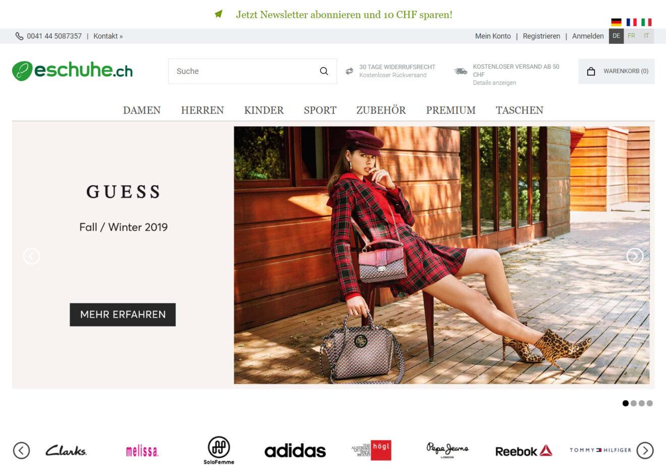 Startseite von eschuhe.ch