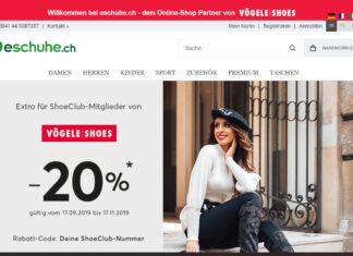 Startseite eschuhe.ch - neu offizieller Onlinepartner von Vögele Shoes.
