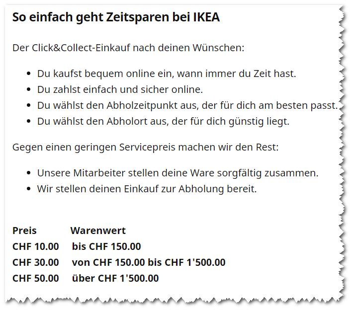 Kosten für Click+ Collect bei IKEA Schweiz.