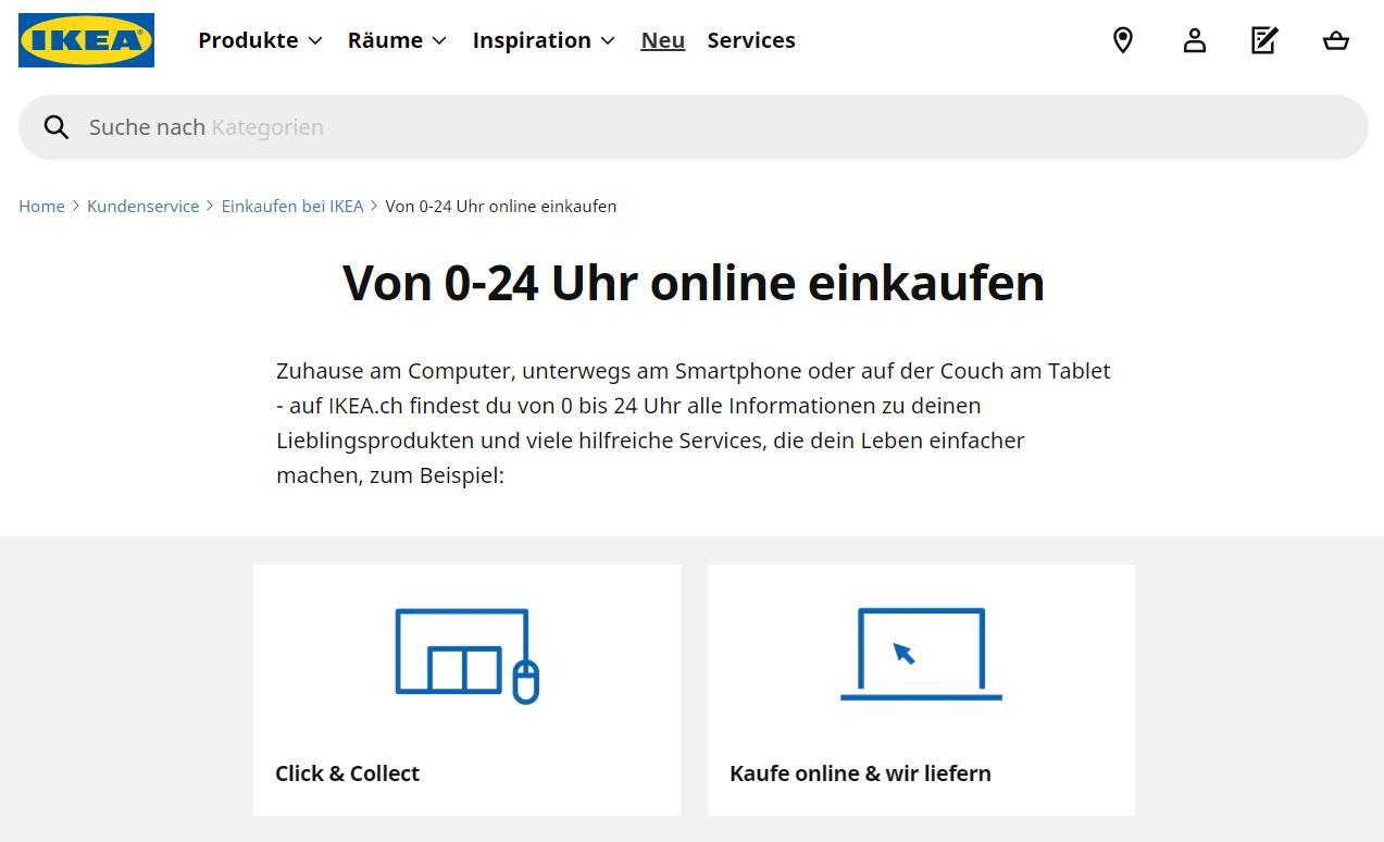 Online-Einkauf bei IKEA Schweiz