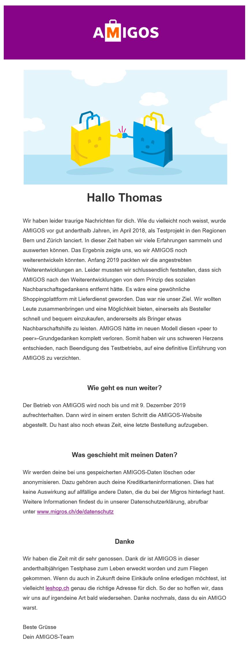 Information der Migros an die AMIGOS Nutzer