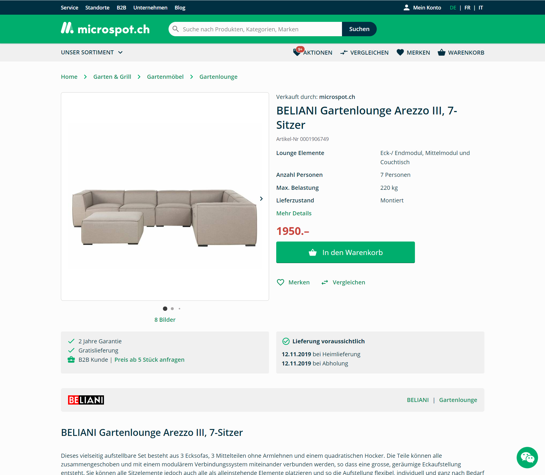 Möbel Artikel von Beliani auf microspot.ch