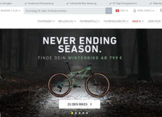 Startseite von rosebikes.ch