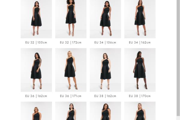 Online-Shop von ASOS - 16 unterschiedliche Models tragen das Kleid