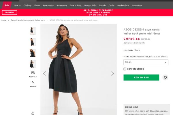 Grössen-Wahl bei Fashion in Online-Shops