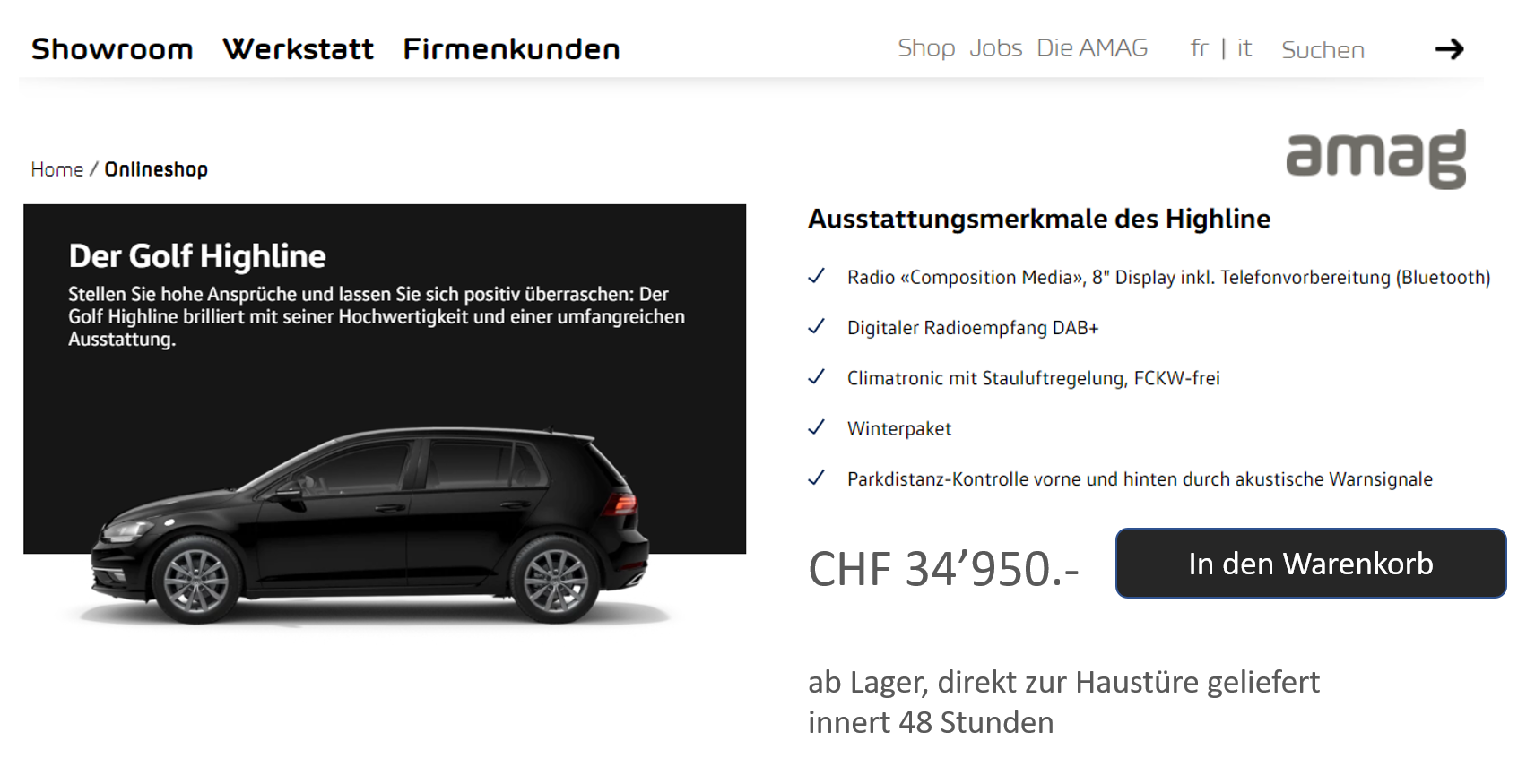 Auto-Onlineshop der Amag / Mockup - Visualisierung Carpathia AG