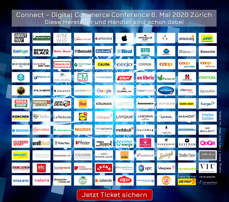 Nur noch bis morgen: Early-Bird Tickets für die Connect - Digital Commerce Conference #dcomzh