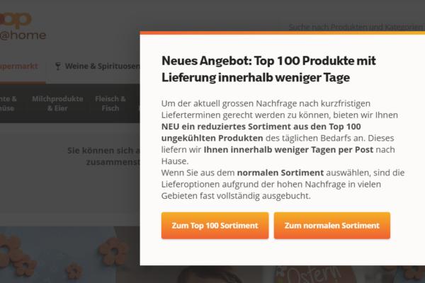 Coop@Home lanciert Top-100 Sortiment