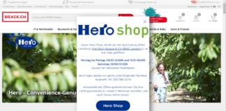 Webshop von Hero Schweiz verweist auf Brack.ch