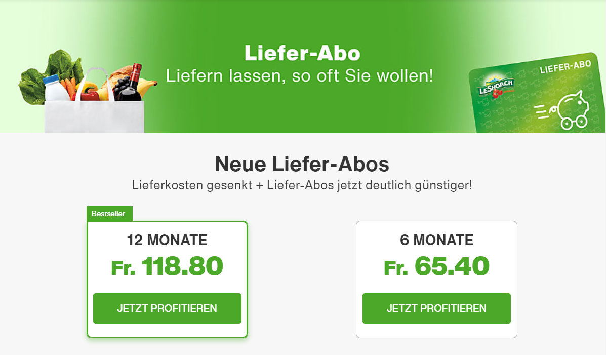 Liefer-Abos bei LeShop
