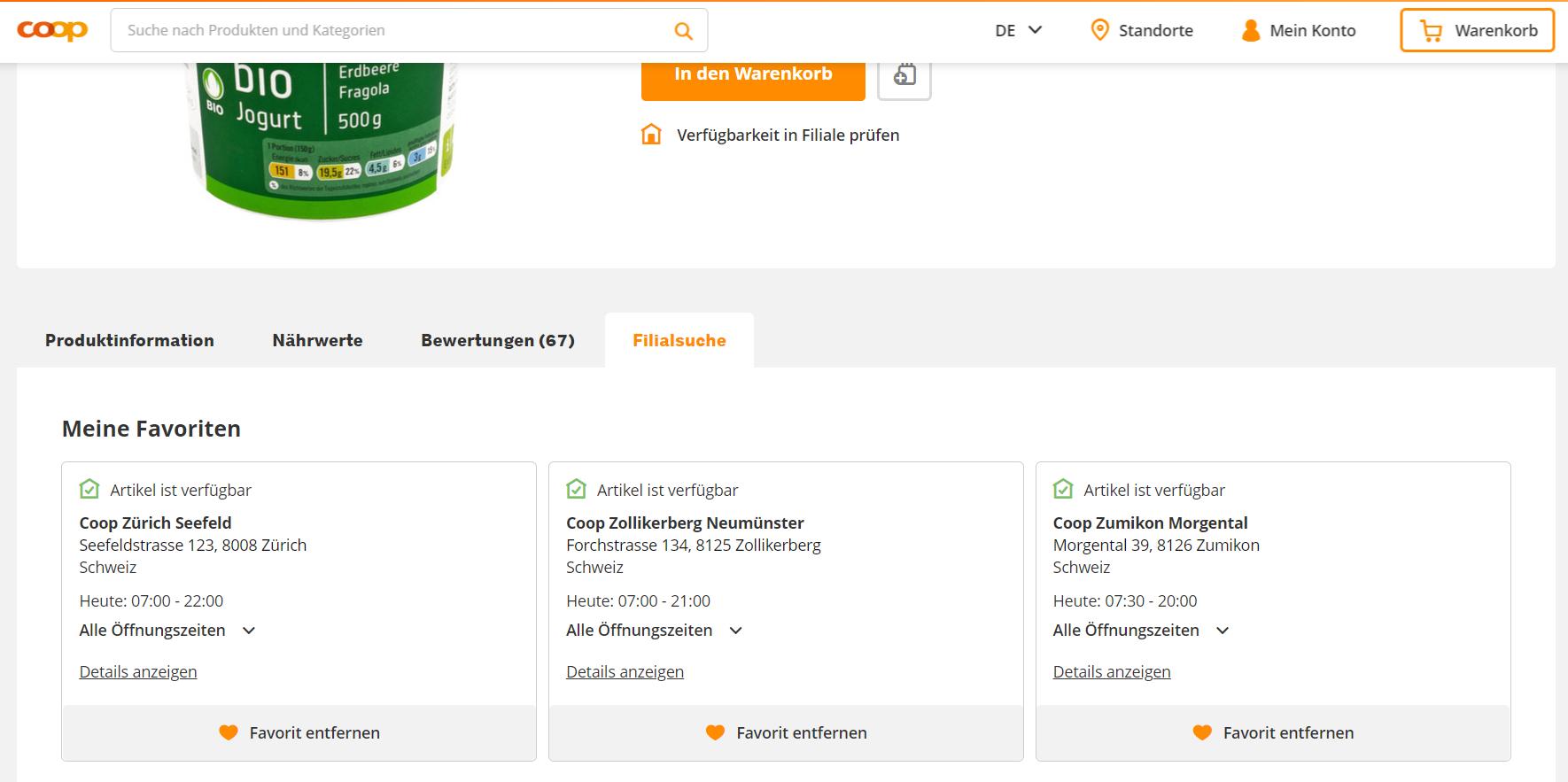 Artikelverfügbarkeit in den bevorzugten Filialen / Quelle: beta.coop.ch