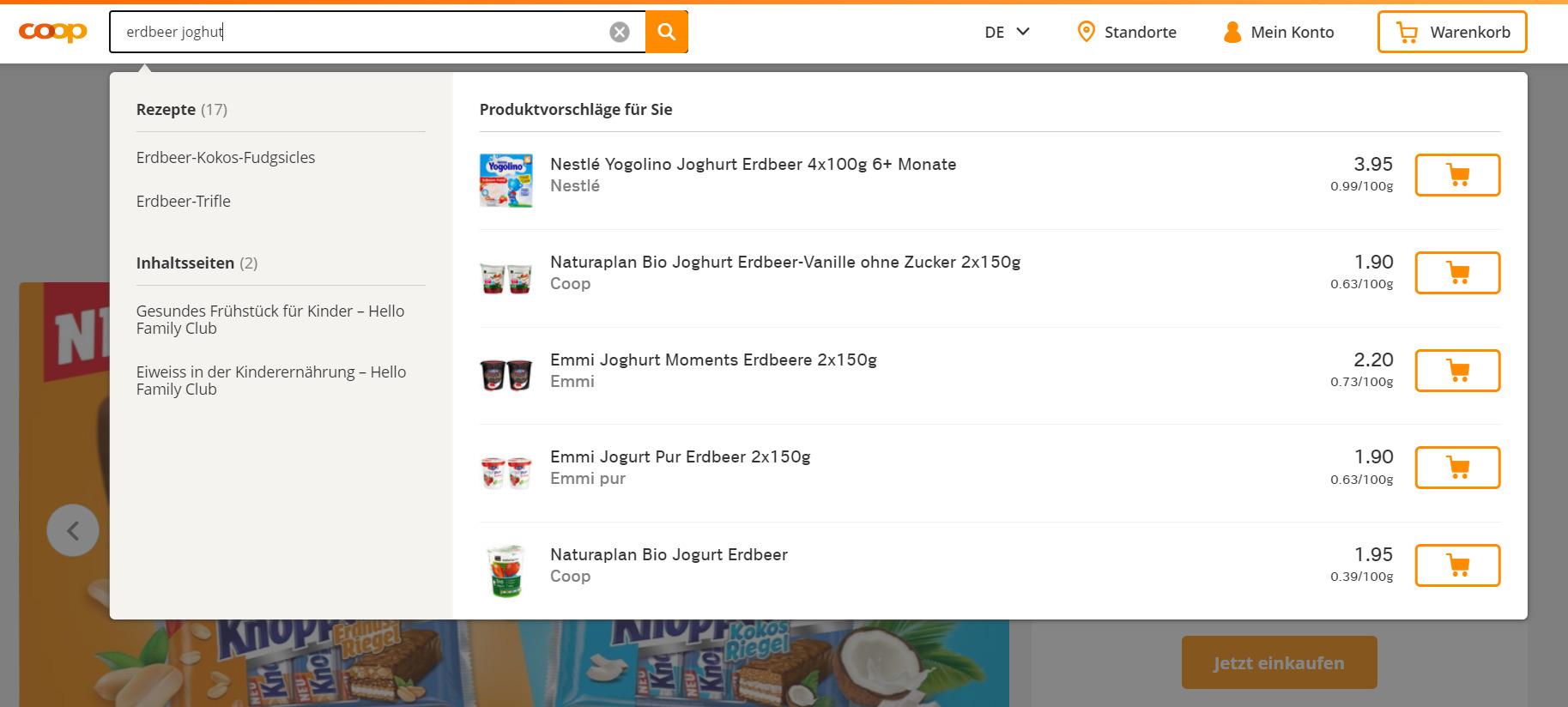 Einkaufen diekt aus den Suchresultaten / Quelle: beta.coop.ch