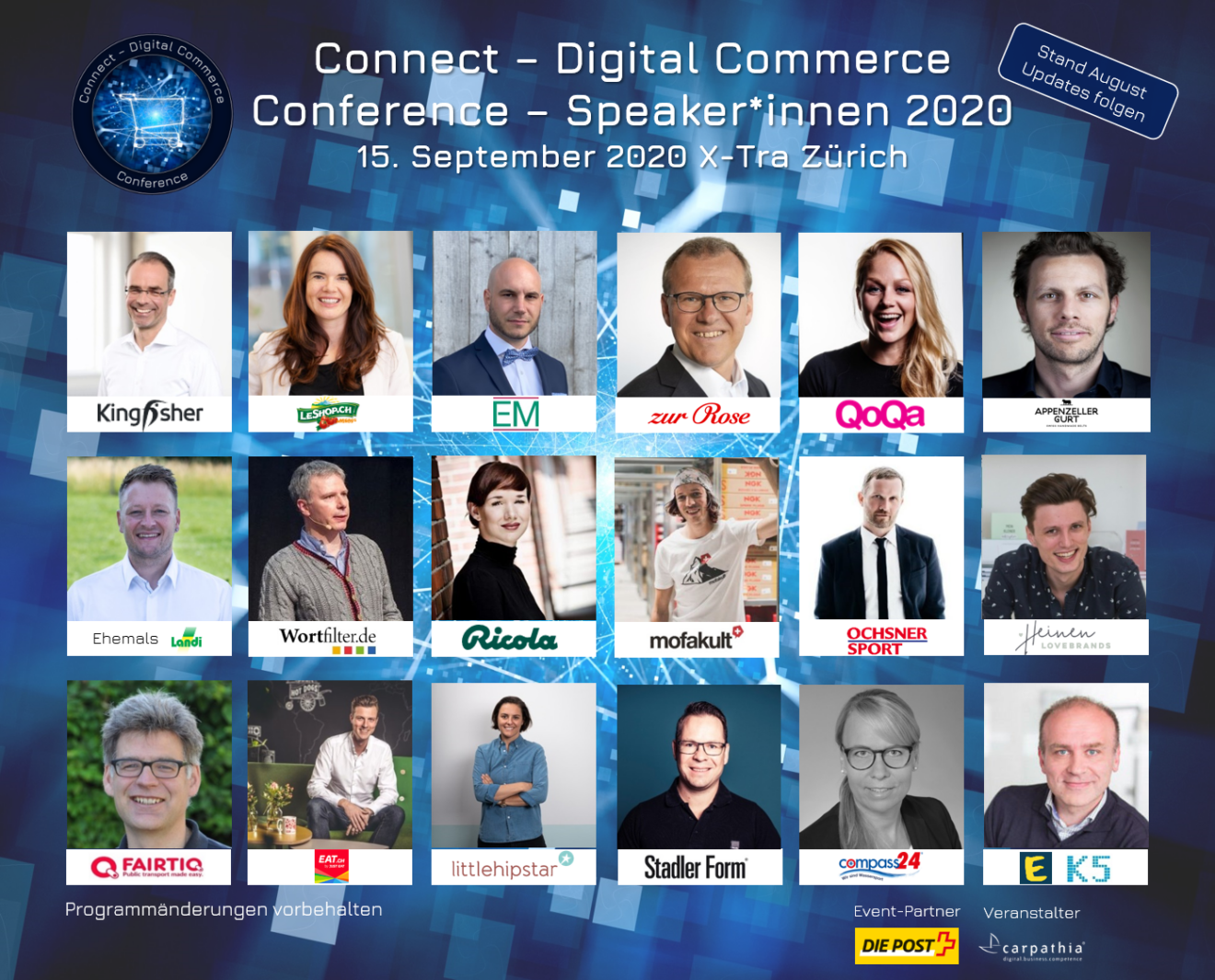 Hochkarätige Speaker*innen der Connect - Digital Commerce Conference 2020 vom 15. September 2020 im X-Tra in Zürich