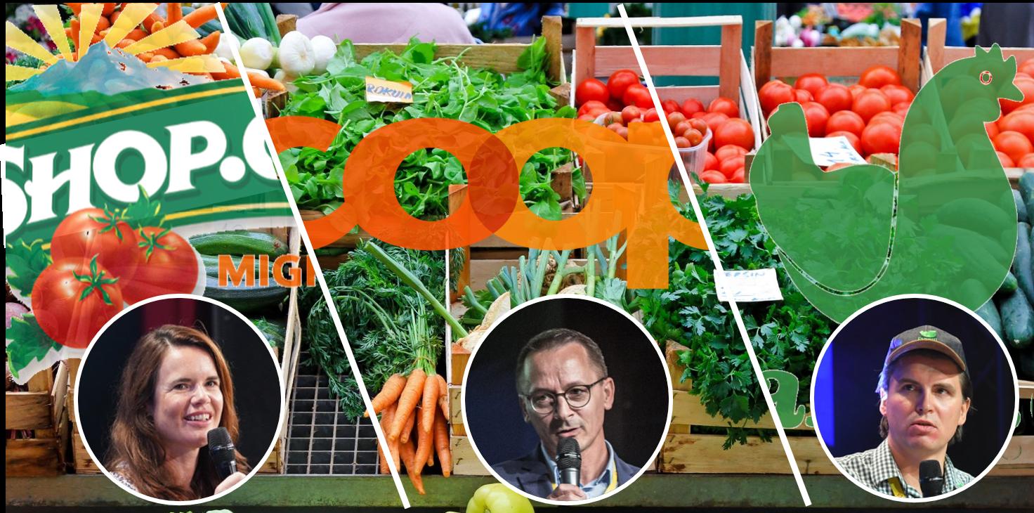 Die drei grössten Online-Lebensmittelhändler der Schweiz und ihre Geschäftsführer*innen. Die Porträtfotos stammen von der Connect-Konferenz der Jahre 2020 (K. Tschannen, LeShop), 2017 (P. Huwyler, Coop.ch) und 2019 (R. Hartmann, Farmy)