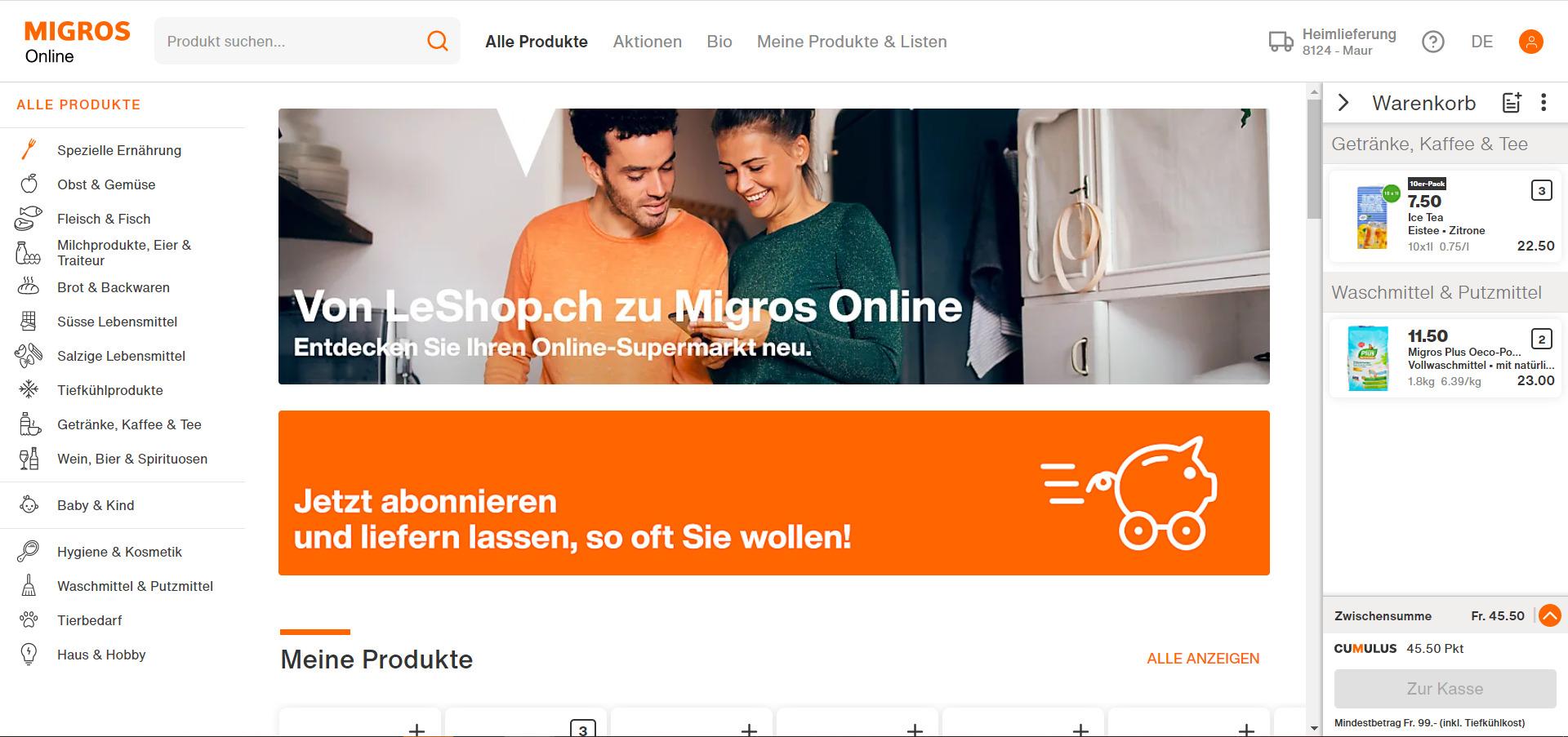 Startseite von shop.migros.ch am Launch-Datum 3. November 2020