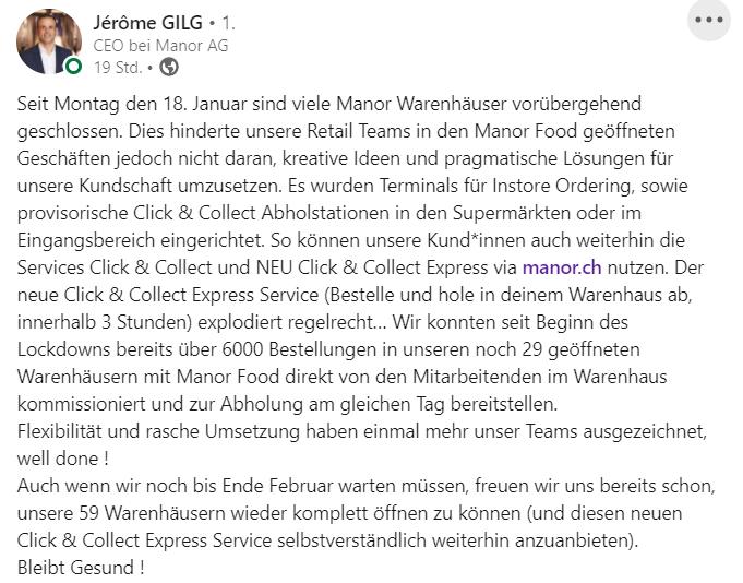 Manor CEO Jérôme Gilg auf LinkedIn.