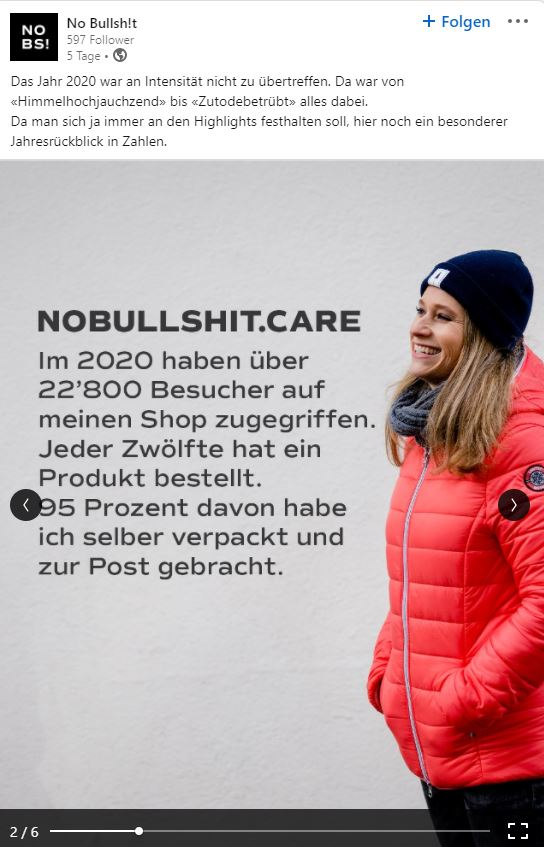 Das Jahr 2020 von Start-up-Award-Gewinner nobullshit.care in Zahlen