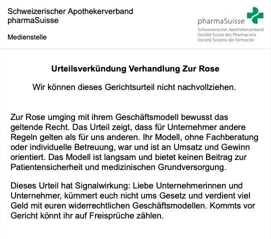 Medienmitteilung von pharmaSuisse nach dem Freispruch von zur Rose CEO Walter Oberhänsli