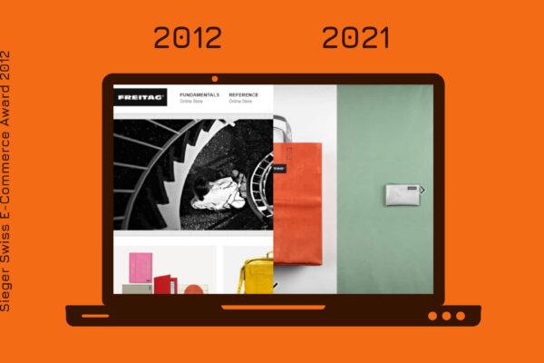Der Onlineshop von FREITAG 2021 und heute im Vergleich.