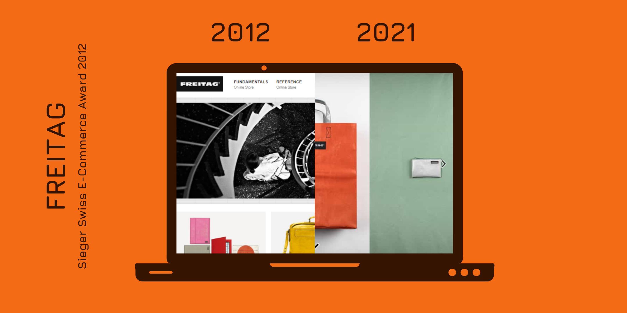 Der Onlineshop von FREITAG 2012 und heute gegenübergestellt.