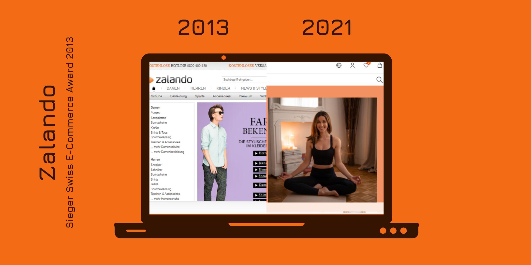 Der Onlineshop von Zalando 2013 und heute gegenübergestellt.