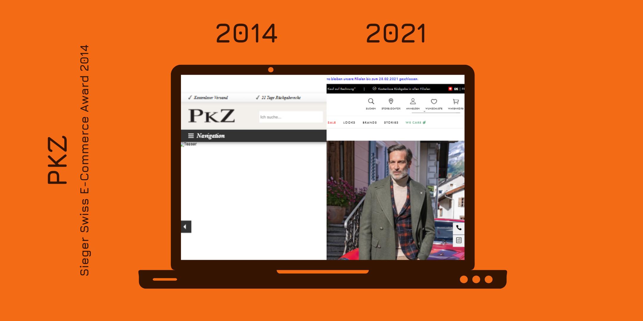 Der Onlineshop von PKZ 2014 und heute gegenübergestellt (wobei die Wayback Machine leider nur einen unvollständigen Screenshot von 2014 hervorbringen konnte).